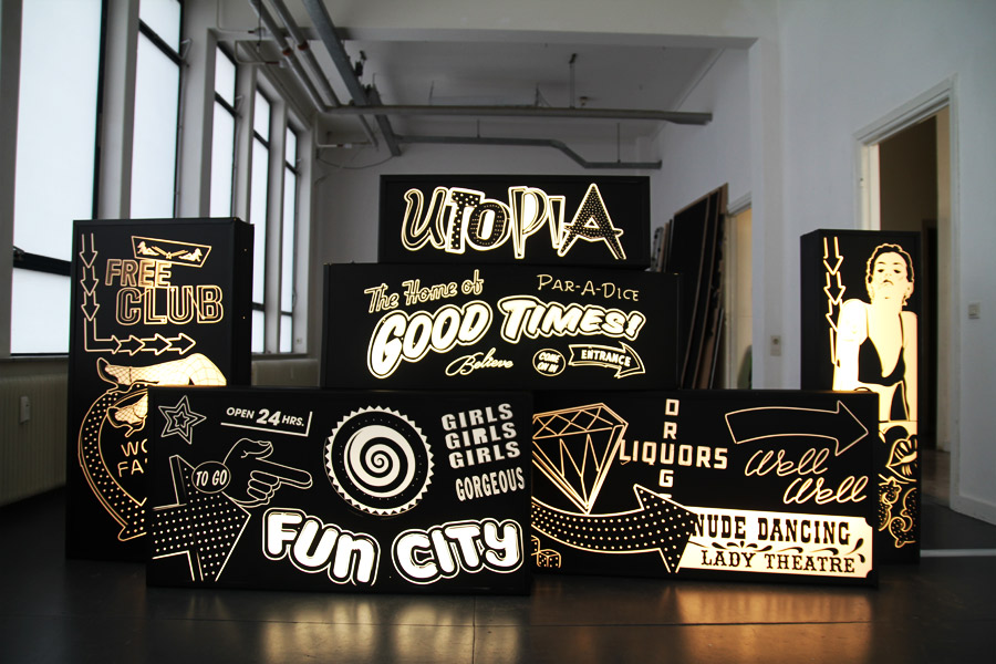 Studio Ruwedata - A framed utopia exhibition lightbox artwork