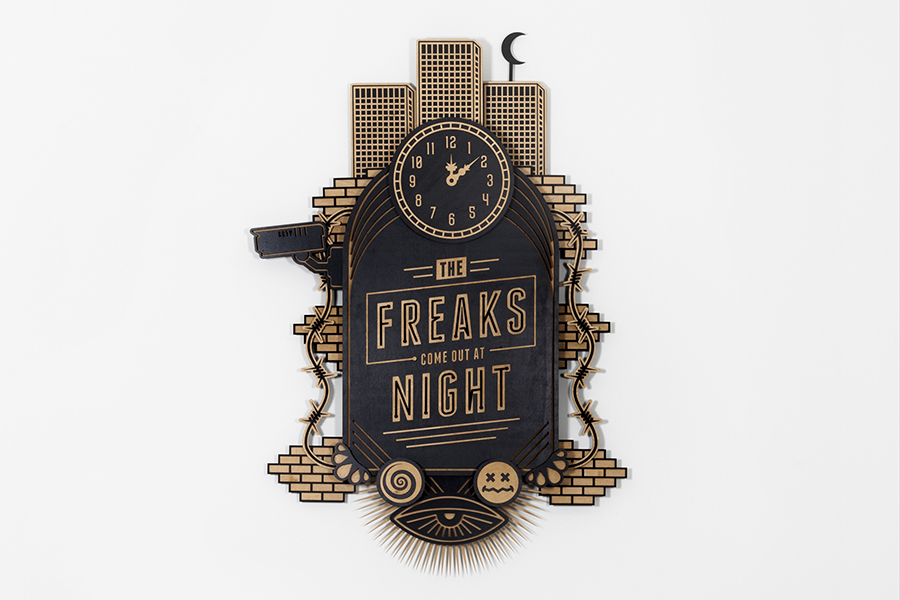 Studio Ruwedata - the freaks come out at night - wall sculpture artwork