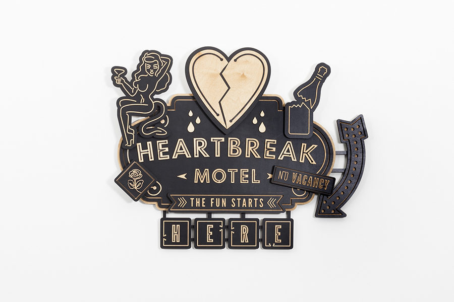 Studio Ruwedata - heartbreak motel - wall sculpture artwork