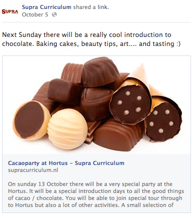 facebook post over cacaofeest